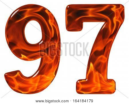 97, Ninety Seven, Numeral, Imitation Glass And A Blazing Fire, Isolated On White Background