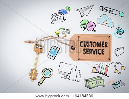 Customer Service. Key and a note on a white background