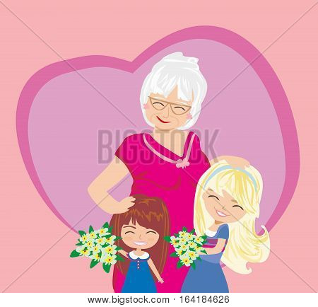 Happy Grandmas Day poster card , vector illustration