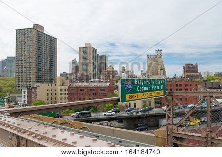 NEW YORK - APRIL 29 2016: view on the Brooklyn-Queens expressway seen from the brooklyn bridge walkway. Interstate 278 is an auxiliary Interstate Highway in New Jersey and New York in the United States