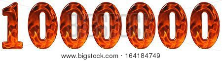 1000000, One Million, Numeral, Imitation Glass And A Blazing Fire, Isolated On White Background