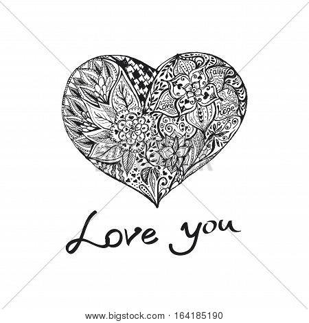 Hand draw romantic ink heart. Doodle sketch with words love-hope-faith for Your design.