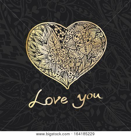 Hand draw romantic Gold heart on a black background. Doodle sketch with words love-hope-faith for Your design.