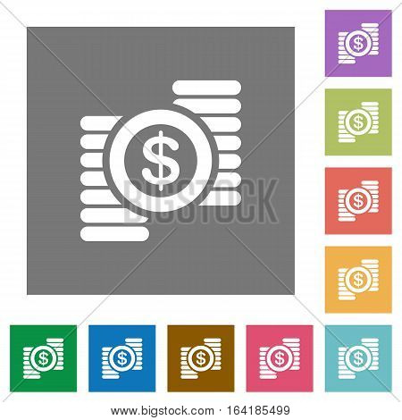 Dollar coins flat icons on simple color square backgrounds