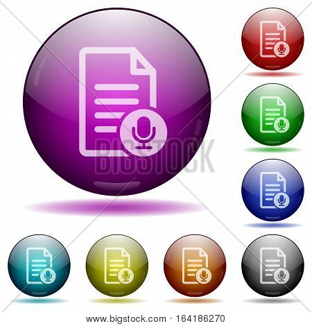 Voice document icons in color glass sphere buttons with shadows