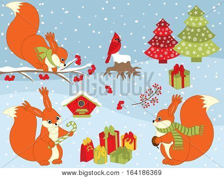 Vector Christmas set with squirrel, cardinal, birdhouse and winter berries