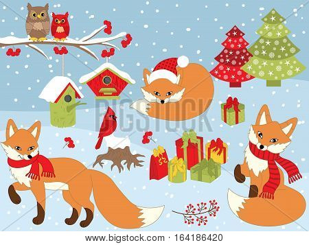 Vector Christmas set with foxes, xmas tree, cardinal and owls on branch