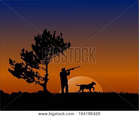 Hunter With Dog In The Sunset