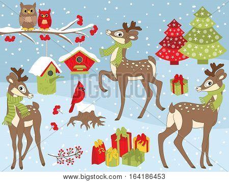 Vector Christmas set with deer, cardinal, birdhouse and winter berries