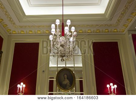 VIENNA, AUSTRIA - JANUARY 2 2016: Interior of the famous Sacher Hotel in Vienna Austria