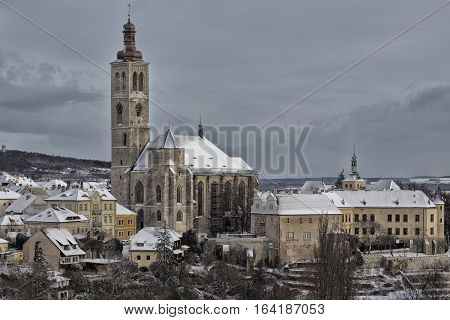 St. James church in bohemian town Kutna Hora winter snow tourism