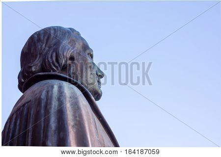 Statue of the german reformer Martin Luther in front of a church in Copenhagen