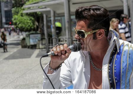 Street Artist Singer Performing Elvis Presley On Street
