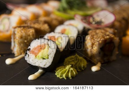 Fresh and delicious maki and nigiri sushi