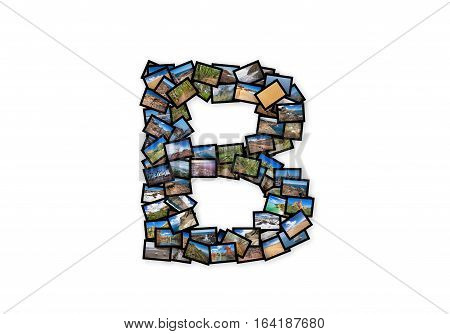Letter B uppercase font shape alphabet collage made of my best landscape photographs. Version 2.