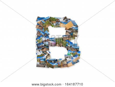 Letter B uppercase font shape alphabet collage made of my best landscape photographs. Version 3.