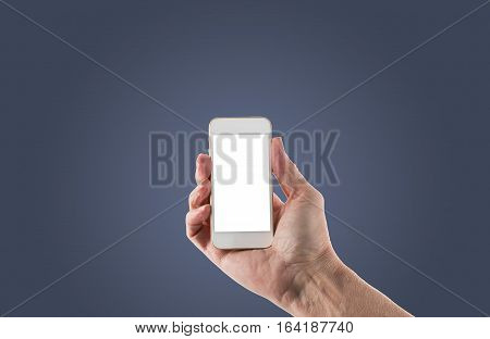 Image of male right hand holding smartphone with screen isolated ready for insertion of your application or screenshot against blue gradient background