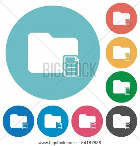 Folder properties flat white icons on round color backgrounds