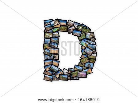 Letter D uppercase font shape alphabet collage made of my best landscape photographs. Version 2.