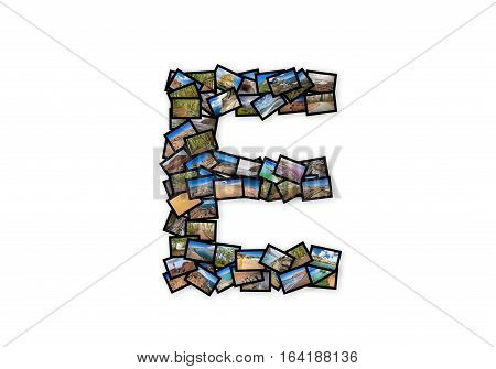 Letter E uppercase font shape alphabet collage made of my best landscape photographs. Version 2.