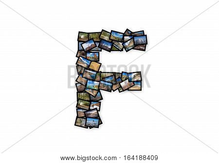 Letter F uppercase font shape alphabet collage made of my best landscape photographs. Version 2.