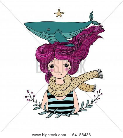 Beautiful young girl sailor with a whale in her hair. Sea animals. isolated objects on white background. Vector illustration.