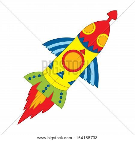 Vector flying space rocket to the galaxy