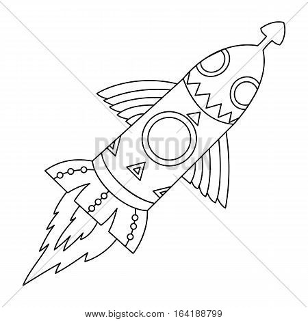 Vector  black and white flying space rocket