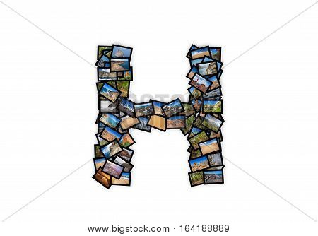 Letter H uppercase font shape alphabet collage made of my best landscape photographs. Version 2.