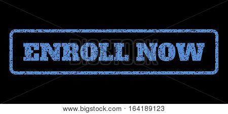 Blue rubber seal stamp with Enroll Now text. Vector caption inside rounded rectangular shape. Grunge design and dust texture for watermark labels. Horisontal sticker on a black background.