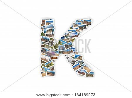 Letter K uppercase font shape alphabet collage made of my best landscape photographs. Version 1.
