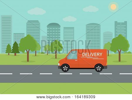 Orange delivery van on city background. Product goods shipping transport. Fast service truck