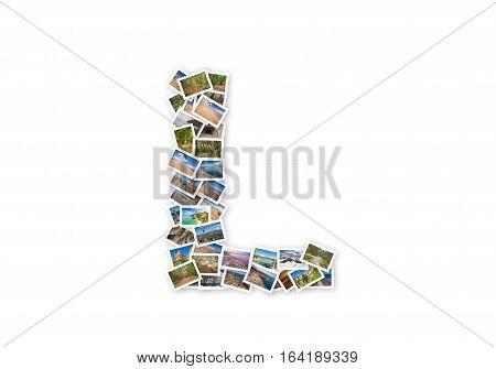 Letter L uppercase font shape alphabet collage made of my best landscape photographs. Version 1.