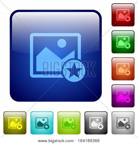 Rank image icons in rounded square color glossy button set