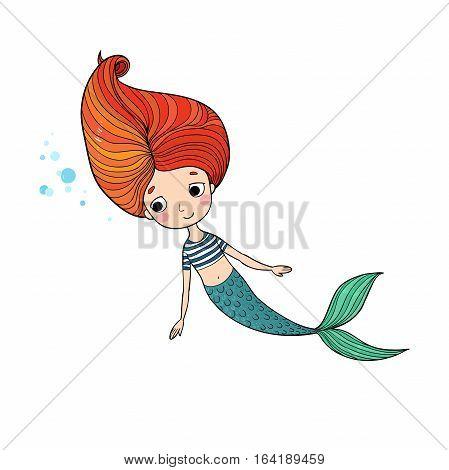 Beautiful little mermaid. Siren. Sea theme. isolated objects on white background. Vector illustration.