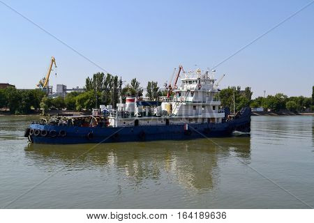 The ship on the river don Rostov-on-don. Clear July day. Photo taken on: July 17 Wednesday 2013