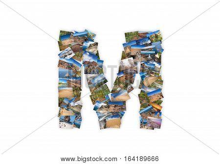 Letter M uppercase font shape alphabet collage made of my best landscape photographs. Version 3.