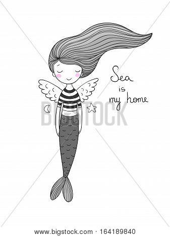 Cute little mermaid with wings. Siren. Sea theme. vector illustration