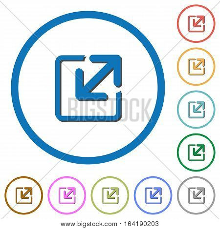 Resize window flat color vector icons with shadows in round outlines on white background