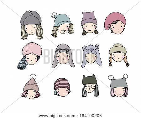 Different faces. People in winter hats. Hand drawing isolated objects on white background. Vector illustration.