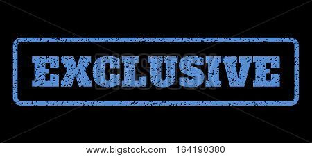 Blue rubber seal stamp with Exclusive text. Vector caption inside rounded rectangular frame. Grunge design and dirty texture for watermark labels. Horisontal sign on a black background.