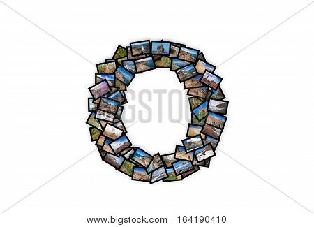 Letter O uppercase font shape alphabet collage made of my best landscape photographs. Version 2.