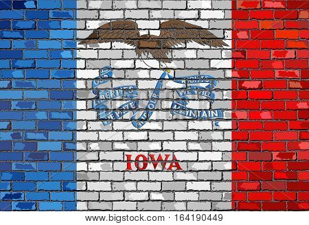 Flag of Iowa on a brick wall with effect - 3D Illustration,  The flag of the state of Iowa on brick textured background,  Iowa Flag in brick style