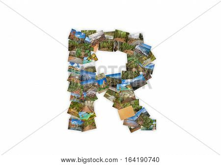 Letter R uppercase font shape alphabet collage made of my best landscape photographs. Version 3.