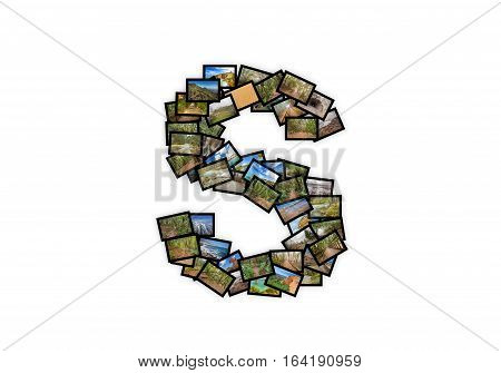 Letter S uppercase font shape alphabet collage made of my best landscape photographs. Version 2.