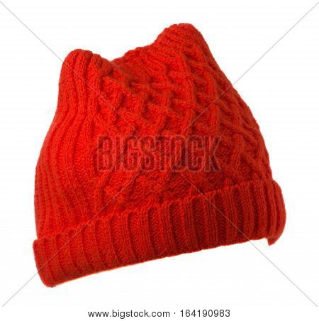 Women's Hat . Knitted Hat Isolated On White Background.red Hat .