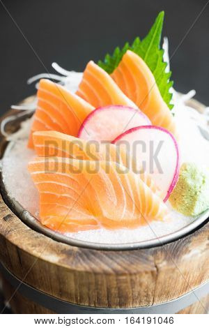 Raw fresh salmon sashimi (Japanese style food)