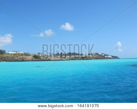 Caribean coast line with beach houses and holiday apartments
