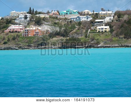 Carribean coast line with beach houses and holiday apartments