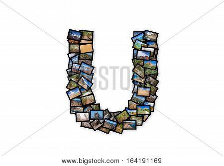 Letter U uppercase font shape alphabet collage made of my best landscape photographs. Version 2.